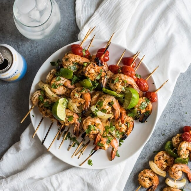 These quick, easy and healthy Grilled Shrimp Skewers are perfect for summer grilling or roasting! (gluten free, paleo, low carb)