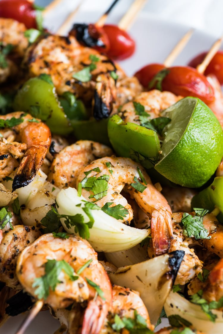 These quick, easy and healthy Grilled Garlic Herb Shrimp Skewers are perfect for summer grilling or roasting! (gluten free, paleo, low carb)