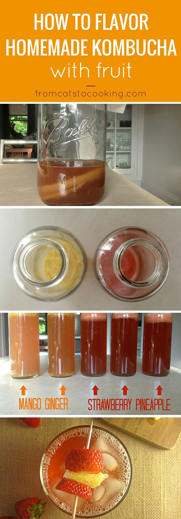 How to Flavor Homemade Kombucha with Fruit - mango ginger and strawberry pineapple flavors (healthy, probiotics, fermented tea drink, easy recipe)