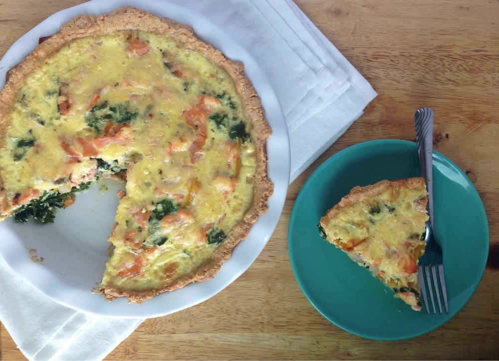 Smoked Salmon and Kale Quiche - Gluten Free, Paleo