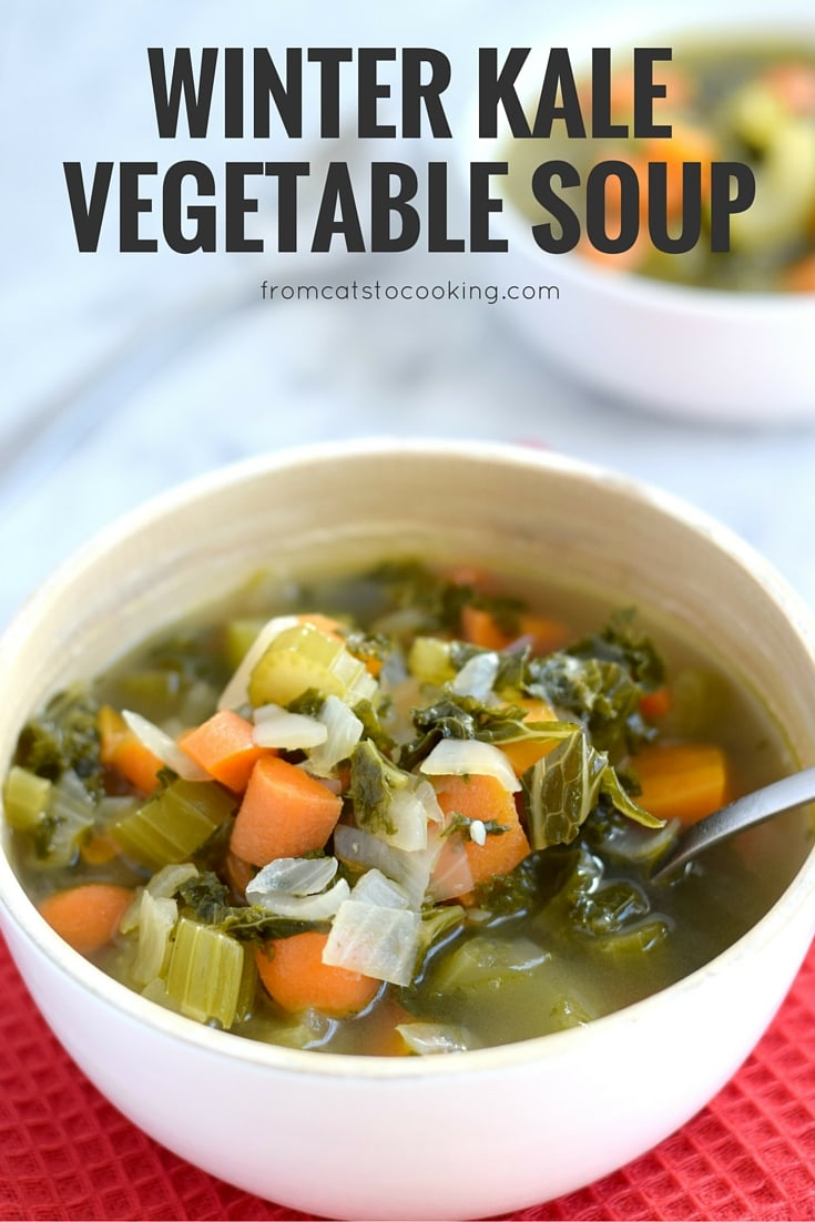 This Winter Kale Vegetable soup is loaded with vegetables like kale, carrots and celery and packed with super savory herbs like rosemary, thyme and garlic. Perfect for the cold winter days. (gluten free, paleo, vegetarian, vegan) - isabeleats.com