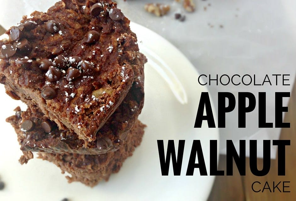 Chocolate Apple Walnut Cake recipe. Gluten-free, Paleo, 21DSD friendly. This healthy cake is made with Granny Smith apples, nuts, 100% unsweetened cocoa powder, coconut flour and a few other really good-for-you ingredients that will satisfy that desire for sweetness without really overdoing it on the sugar. | fromcatstocooking.com