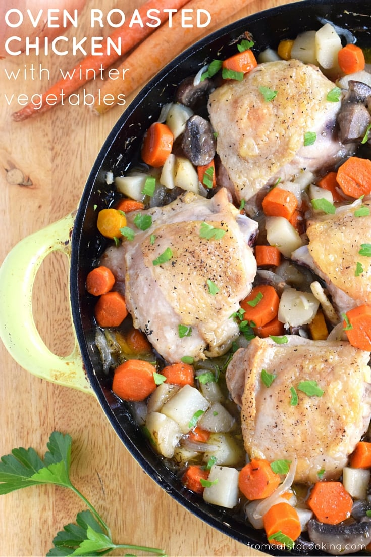 This Oven Roasted Chicken with Winter Vegetables recipe is the perfect one-skillet meal for those cold winter nights when all you want to do is snuggle up under a warm blanket on the couch. - isabeleats.com