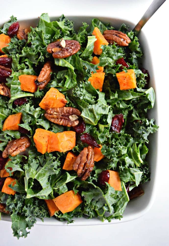 Roasted Sweet Potato And Kale Salad With Candied Pecans Cranberries