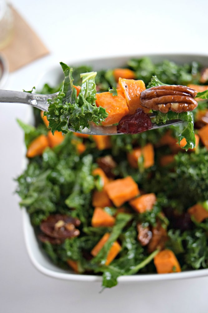 Topped with an easy homemade honey lemon vinaigrette, this roasted sweet potato and kale salad with candied pecans and cranberries is perfect for the holiday season. - isabeleats.com
