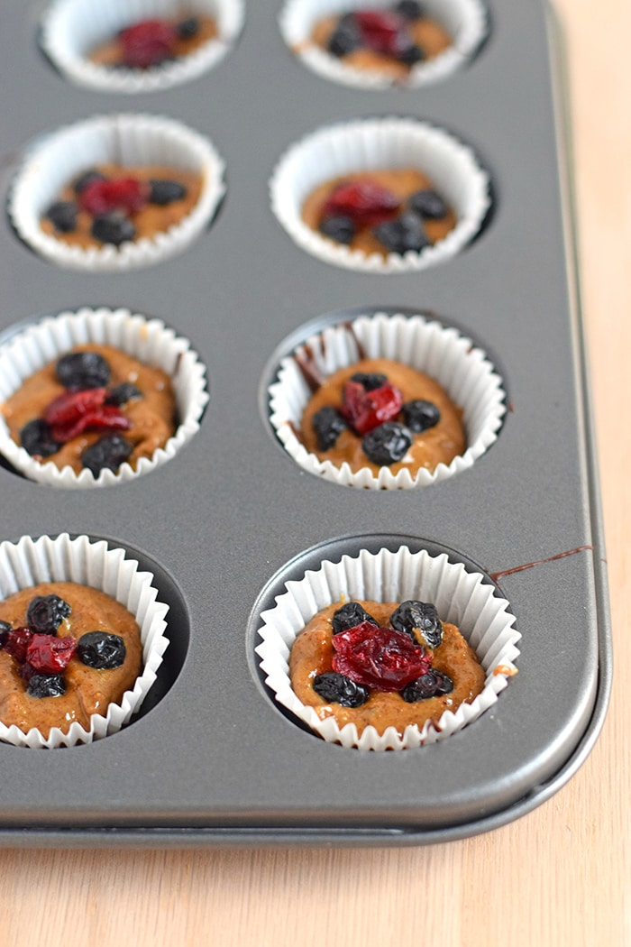 Chocolate Almond Butter Berry Cups topped with sea salt - no added sugar, no bake, dairy free, gluten free, paleo, raw, vegan, vegetarian // isabeleats.com
