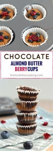 Chocolate Almond Butter Berry Cups topped with sea salt - no added sugar, no bake, dairy free, gluten free, paleo, raw, vegan, vegetarian | fromcatstocooking.com