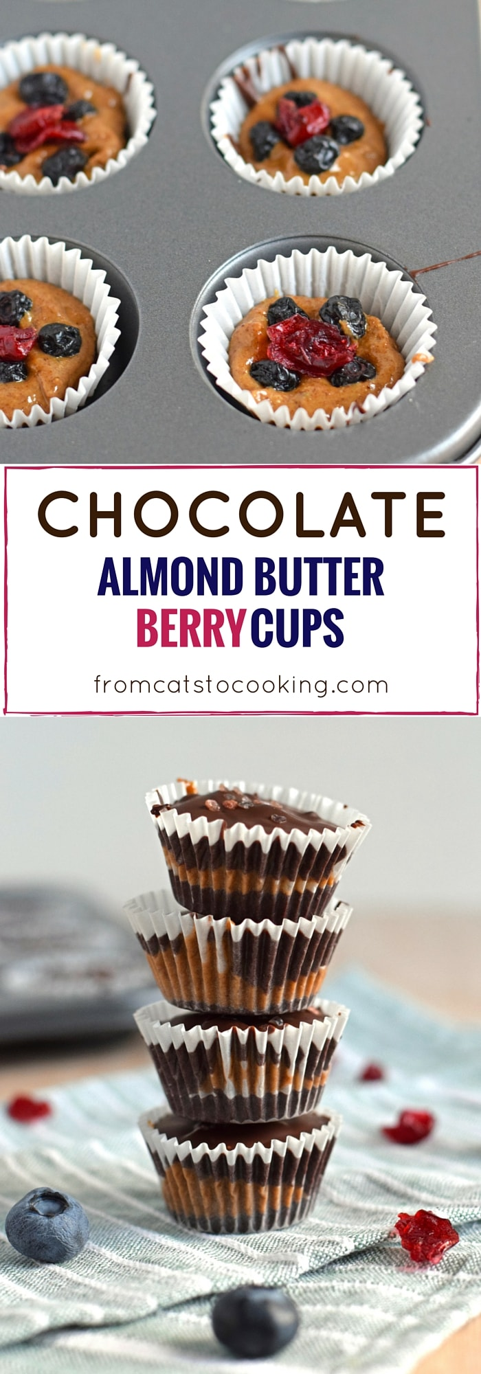 These no bake Chocolate Almond Butter Berry Cups topped with sea salt ...