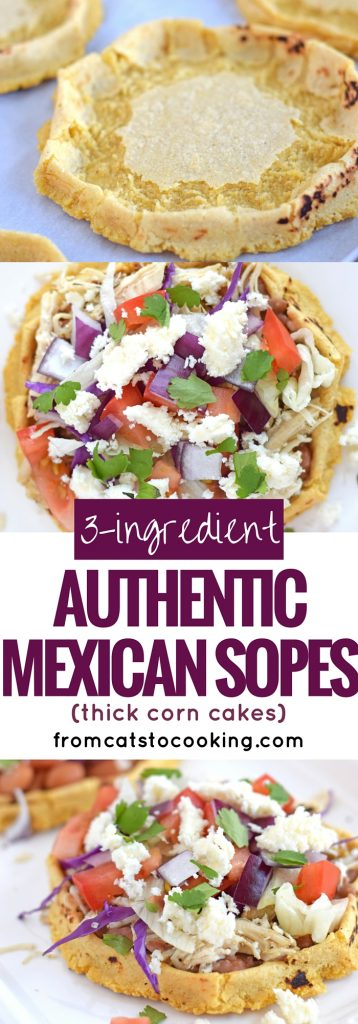 3-Ingredient Authentic Mexican Sopes are a thick corn cake that you can top with any ingredients your little tummy desires. I like to think of them as a thick corn tortilla boat because they're made exactly like a corn tortilla except the edges are pinched up to create a little well in the middle. They're gluten free, vegetarian, vegan and dairy free. They also make a great appetizer or have a couple for dinner.