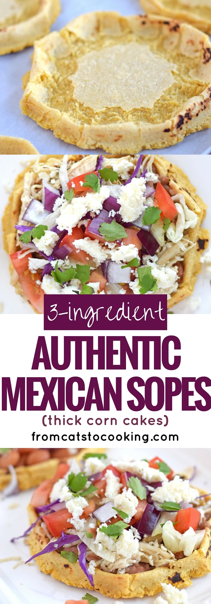 3-Ingredient Authentic Mexican Sopes are a thick corn cake that you can top with any ingredients your little tummy desires. I like to think of them as a thick corn tortilla boat because they're made exactly like a corn tortilla except the edges are pinched up to create a little well in the middle. They're gluten free, vegetarian, vegan and dairy free. They also make a great appetizer or have a couple for dinner. #mexican #cincodemayo #sopes
