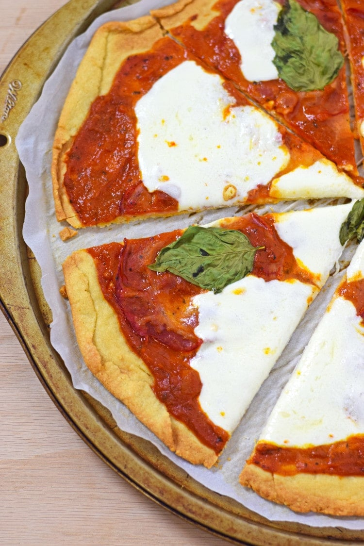 "Made with almond and potato flour, this Gluten Free Pizza Crust is one of my favorites. It's a nice thin crust that isn't overly ""rice-y"" like many gluten free mixes."