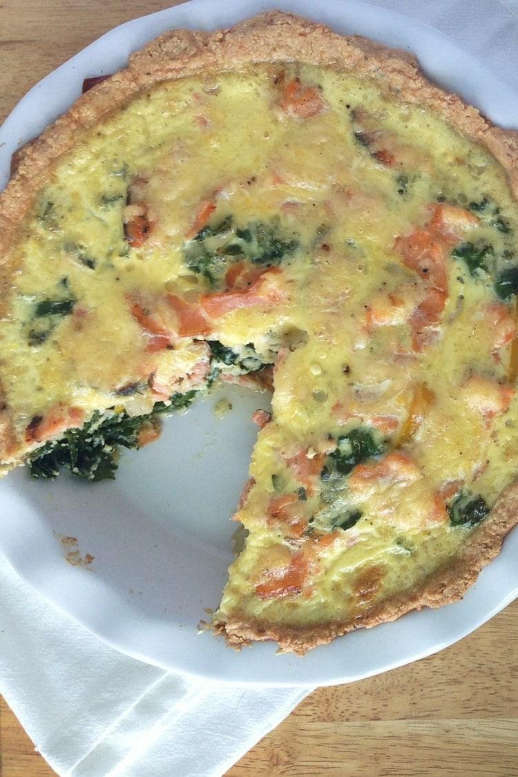 Gluten Free Salmon and Kale Quiche