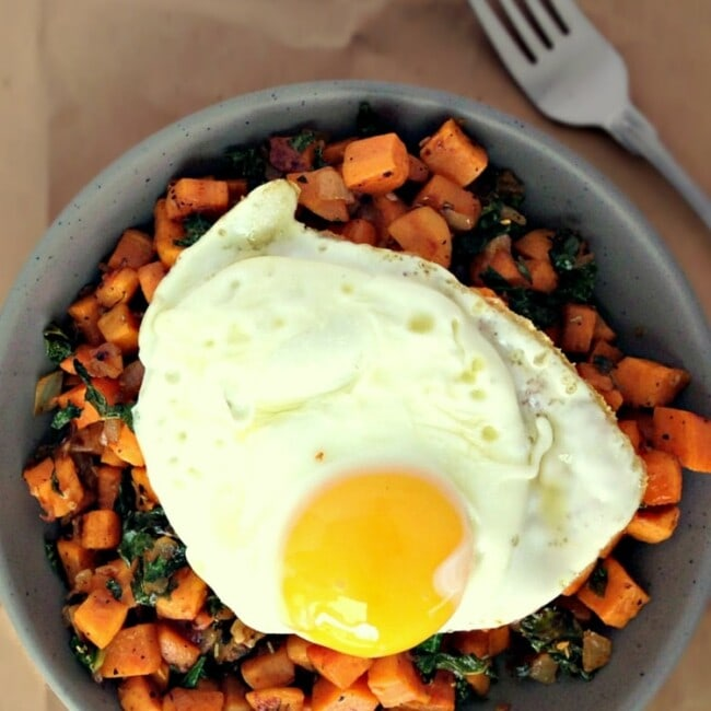 Kale and Sweet Potato Breakfast Hash