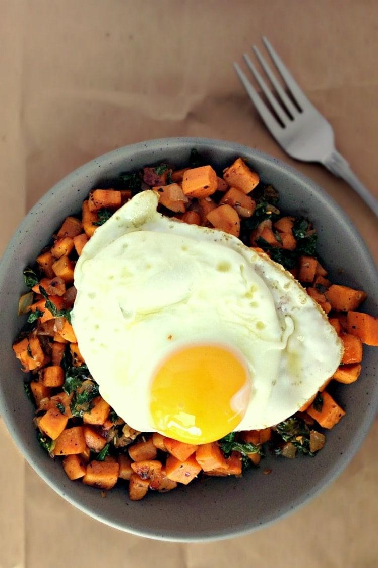 Kale and Sweet Potato Breakfast Hash