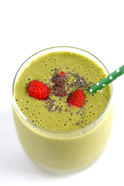 Strawberry Mango Green Breakfast Smoothie