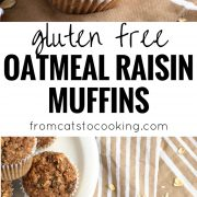 Made with rolled oats, raisins, unsweetened applesauce and almond butter, these Gluten Free Oatmeal Raisin Muffins are ready in only 30 minutes and are the perfect after-dinner dessert or brunch pastry.