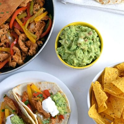 30 Minute Mexican Lime Chicken Fajitas + Easy Guacamole