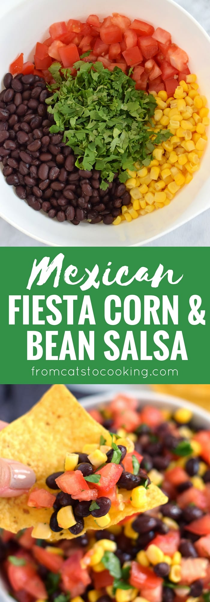 A super easy, bright and fresh Mexican Fiesta Corn & Bean Salsa recipe that takes only 10 minutes to make! Is gluten free, vegetarian, vegan and perfect for the spring and summer months.
