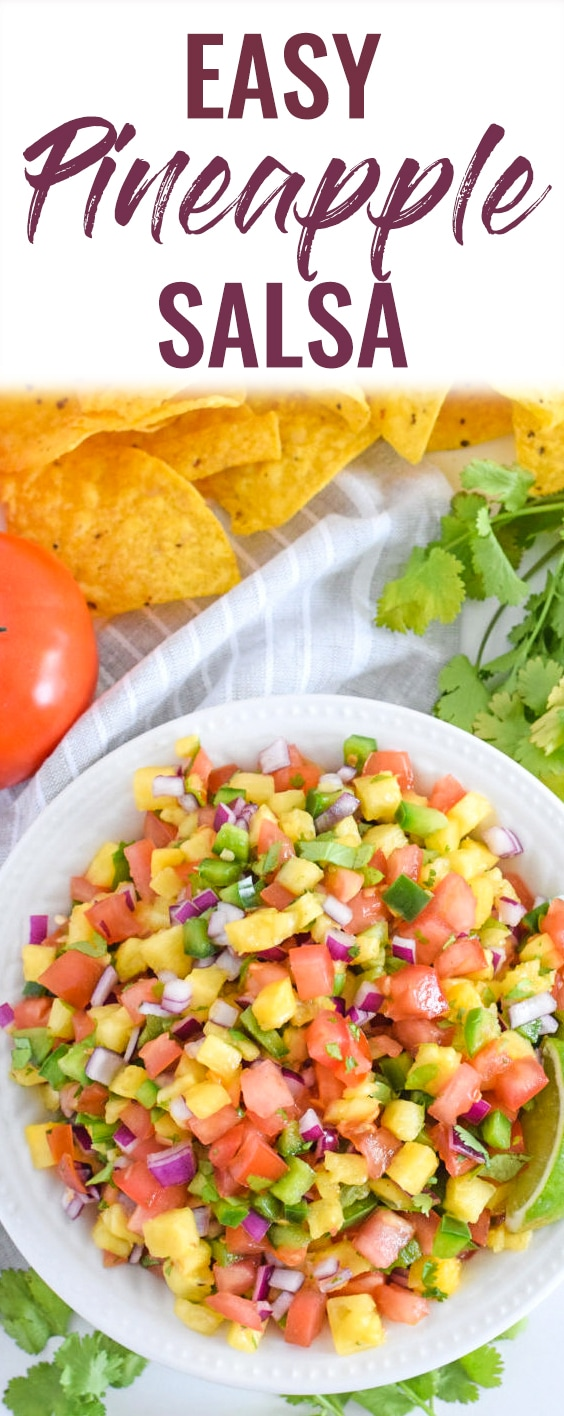 This Pineapple Salsa only requires 6 ingredients and 15 minutes to make. It's the perfect appetizer to serve with tortilla chips and is delicious on tacos and grilled meat! #pineapple #salsa #cincodemayo #summerrecipe #mexican