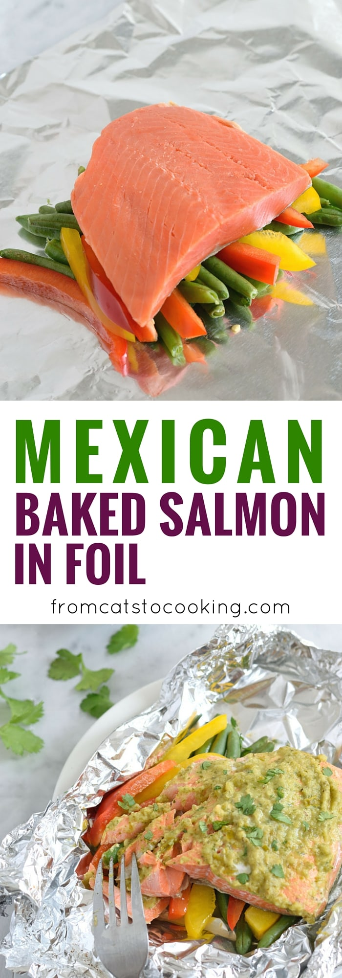 Topped with a green chile cilantro sauce, this Mexican Baked Salmon in Foil recipe is easy to make, takes 35 minutes from start to finish and is perfect for lunch and dinner. It's also super healthy and is gluten free, paleo, vegetarian and clean eating.