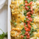 These Weeknight Enchiladas Verdes are made with chicken and covered in an easy salsa verde. Baked to perfection, they make a great dinner and tasty leftovers that everyone will be excited to eat!