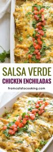 Covered in an easy Homemade Tomatillo Salsa Verde, these baked Mexican Salsa Verde Chicken Enchiladas are great for dinner and make tasty leftovers that everyone will be excited to eat.It's one of my favorite recipes!