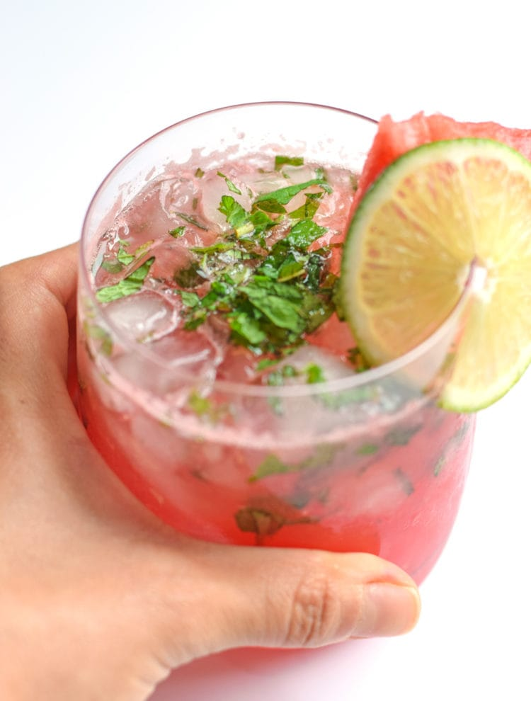 This Watermelon Mint Wine Cocktail is made with only 4 ingredients and takes less than 5 minutes to make. It's made without any added sweeteners like simple syrup or sugar – the watermelon and wine is sweet enough. And the fresh mint and lime juice add a Mexican-inspired twist that we all know and love.