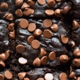 Fudgy black bean brownies topped with chocolate chips