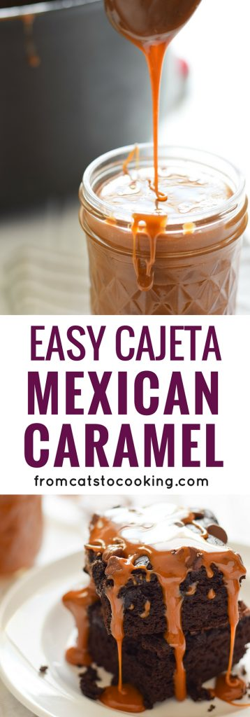 This Easy Cajeta (Mexican Caramel) recipe is made with only 5 ingredients and is easy to make. It's the perfect topping for your favorite dessert and can even be enjoyed all on it's own. If you like dulce de leche, you're going to love cajeta!
