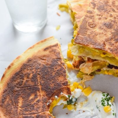 Easy Green Chile Corn Quesadillas