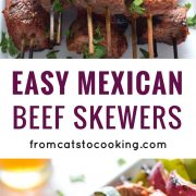 Made with marinated sirloin steak and delicious vegetables like zucchini, bell peppers and onions, these Easy Mexican Beef Skewers are the perfect appetizer or dinner for entertaining! (gluten free, paleo and low carb)