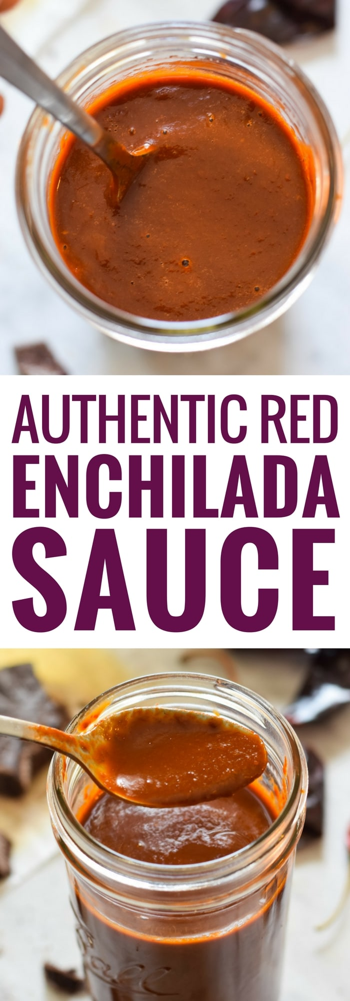 Made with dried chiles and a piece of Mexican chocolate, this Red Enchilada Sauce recipe is perfect in many dishes including enchiladas! (gluten free, vegetarian) #enchiladasauce #mexican #enchiladas
