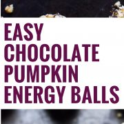 These Easy Chocolate Pumpkin Energy Balls contain only 6 ingredients, take less than 30 minutes to make, and are raw, no-bake, vegan, paleo, dairy free and gluten free.