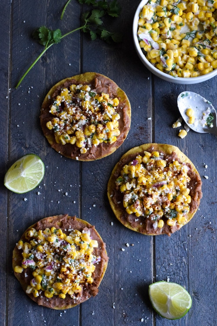 Street corn tostadas made from canned refried beans and canned corn.