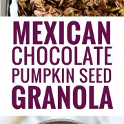 Made with only wholesome rolled oats, Abuelita Mexican chocolate, pumpkin seeds and dried cranberries, this Mexican Chocolate Pumpkin Seed Granola is a delicious breakfast or snack any time of the day! (gluten free, vegetarian)