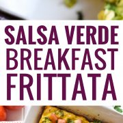 This Salsa Verde Breakfast Frittata is what breakfast dreams are made of. Topped with a salsa verde yogurt sauce, this vegetarian dish is perfect for brunch on those lazy weekends. Is gluten free, vegetarian, paleo and low carb.