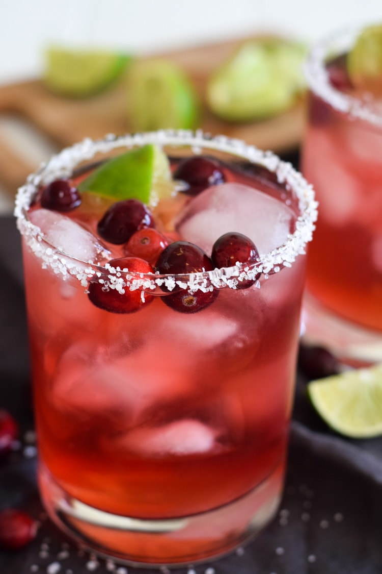 filled with holiday cheer this insanely easy cranberry margarita will definitely get your christmas party started