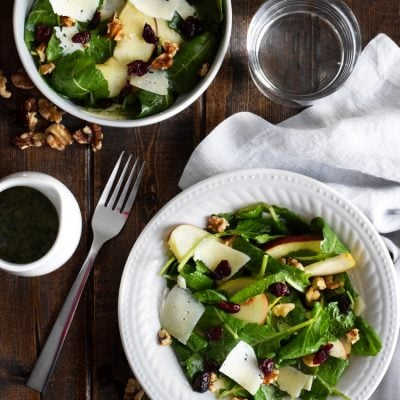 Apple Pear Salad with Honey Cilantro Vinaigrette