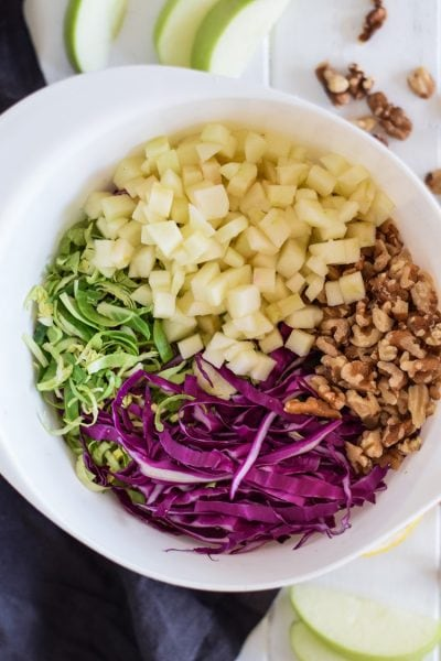 Brussels Sprouts Slaw with Cabbage & Apples