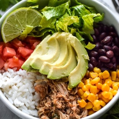 Healthy Chicken Carnitas Burrito Bowl