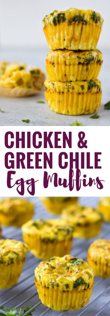 Easy, healthy and filling Chicken and Green Chile Egg Muffins - ready in only 30 minutes, this on-the-go breakfast is gluten free, low carb and paleo friendly.