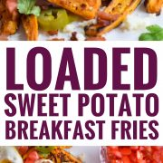 Baked Loaded Sweet Potato Breakfast Fries topped with sunny side up eggs, bacon, avocados and cotija cheese are sure to be your new favorite weekend breakfast.