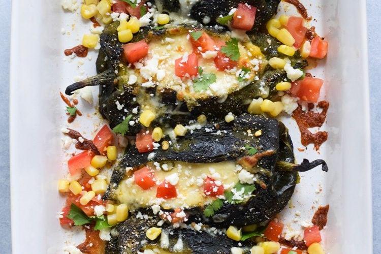 Baked Vegetarian Chile Rellenos