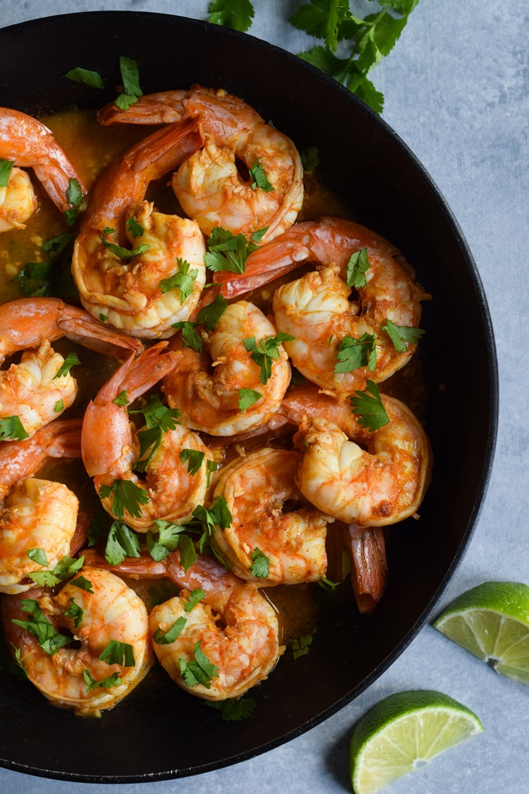 This Spicy Red Pepper Garlic Shrimp is an easy and healthy weeknight meal that's ready in only 18 minutes. Is gluten free, paleo and low carb.