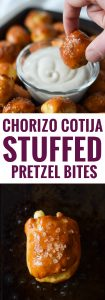 These Mexican Chorizo Cotija Stuffed Pretzel Bites are the ultimate irresistible appetizer and salty snack for your next party and get-together.