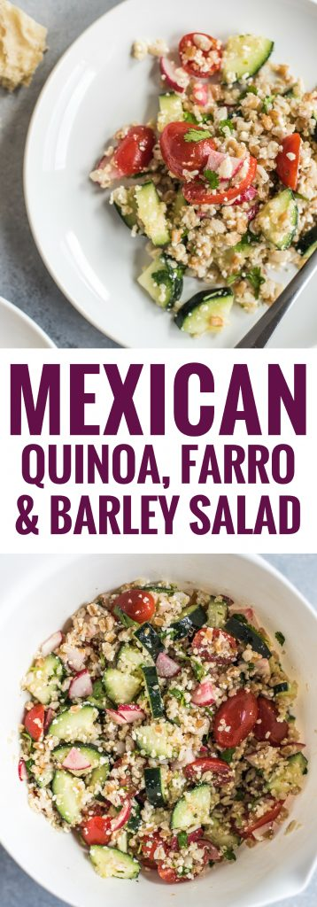 This Mexican Quinoa, Farro & Barley Salad is healthy, easy to make and makes a great vegetarian side dish or lunch in under 30 minutes.