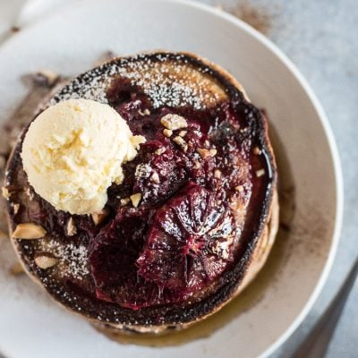 Fluffy Whole Wheat Pancakes with Blood Orange Compote