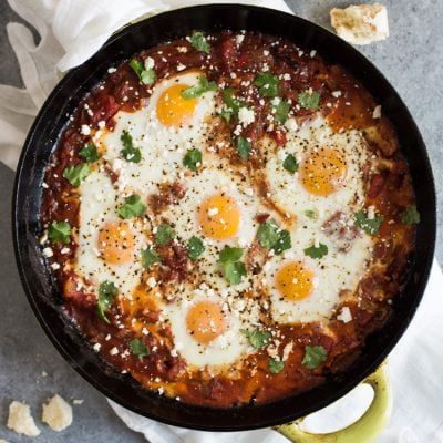 Easy Chipotle Shakshuka (Baked Eggs in Tomato Sauce)