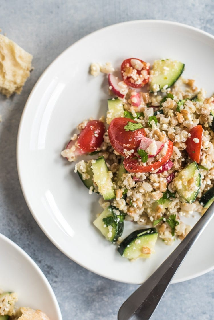 This Mexican Quinoa Salad with Farro and Barley is healthy, easy to make and makes a great vegetarian side dish or lunch in under 30 minutes.