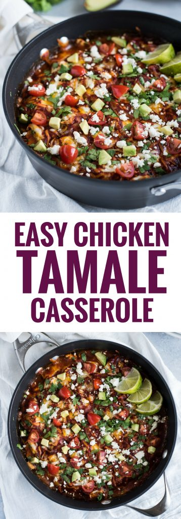 Made with a jalapeno cornbread crust, this Easy Chicken Tamale Casserole is topped with shredded chicken, enchilada sauce and all the cheese your heart desires. Perfect for the whole family!